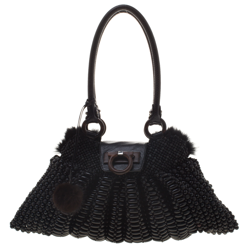 1e7ee8ea05 Buy Salvatore Ferragamo Black Beaded and Lizard Trim with Fur Lining Tote  95733 at best price