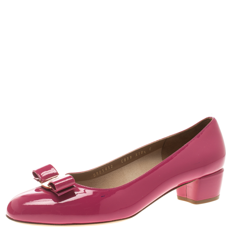 80c64c5a5e3 Salvatore Ferragamo Pink Patent Leather Vara Bow Block Heel Pumps Size 41