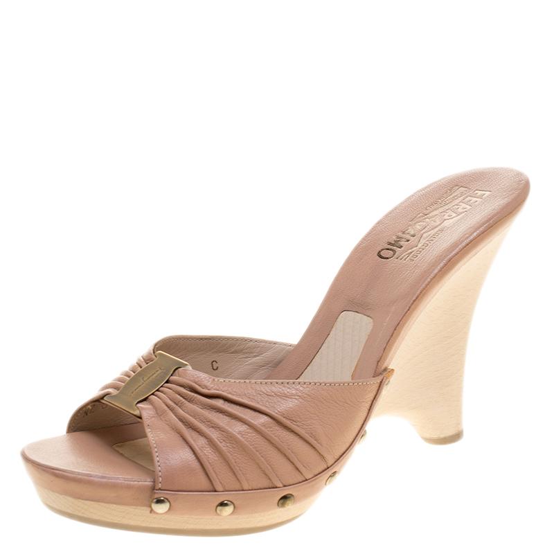 7e03942f748d ... Salvatore Ferragamo Blush Pink Pleated Leather Peep Toe Slides Size  38.5. nextprev. prevnext