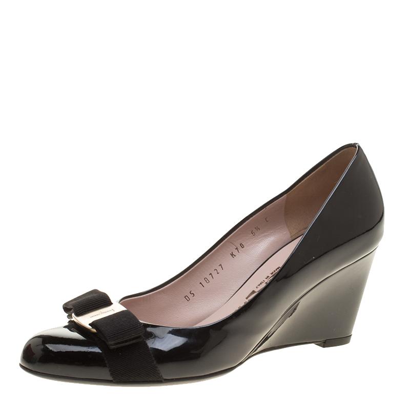 4c151db5761 ... Salvatore Ferragamo Black Patent Leather Flo Vara Bow Wedge Pumps Size  37. nextprev. prevnext