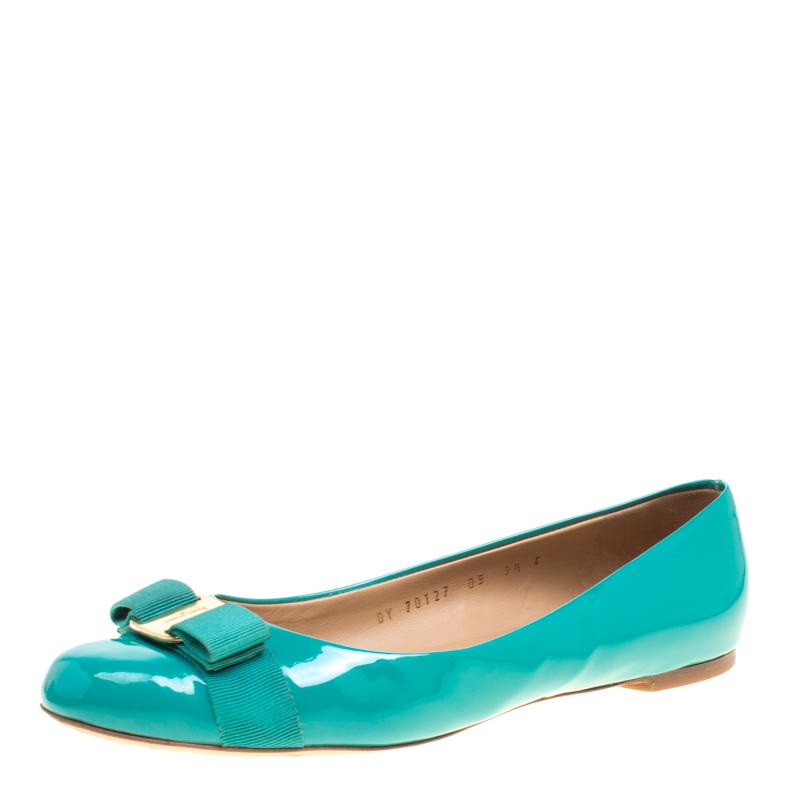 90179f64d3 Salvatore Ferragamo Jade Green Patent Leather Varina Ballet Flats Size 40