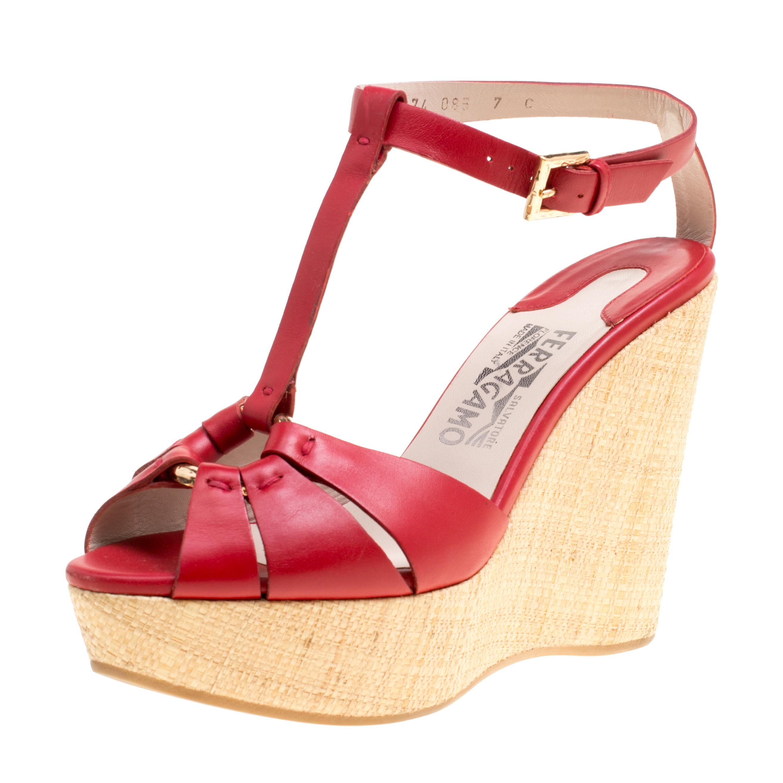 17b763cd535 Buy Salvatore Ferragamo Red Leather T-Strap Platform Wedge Sandals ...