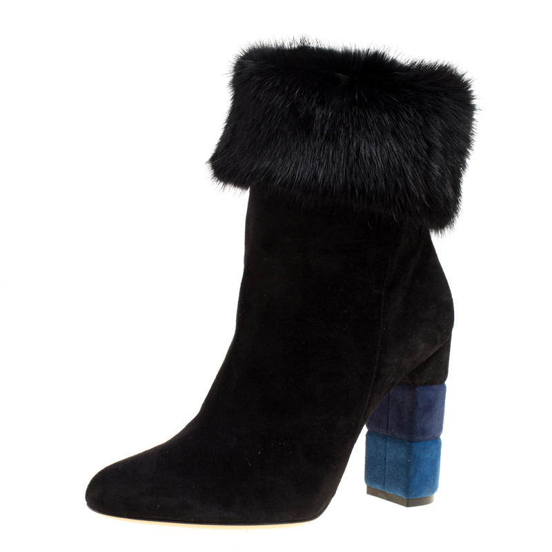 Salvatore Ferragamo Black Suede Color Block Heel Loris Fur Trim Ankle Boots Size 40