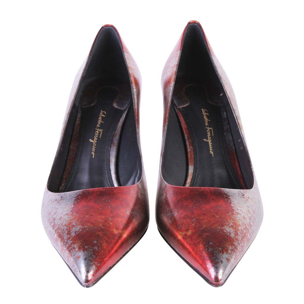 S.T. Dupont / Salvatore Ferragamo Red/Silver Alba Rust Leather Pointed Toe Pumps Size 38.5
