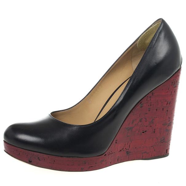 012eacac361a ... Salvatore Ferragamo Black Leather Tasia Wedge Pumps Size 39.5.  nextprev. prevnext
