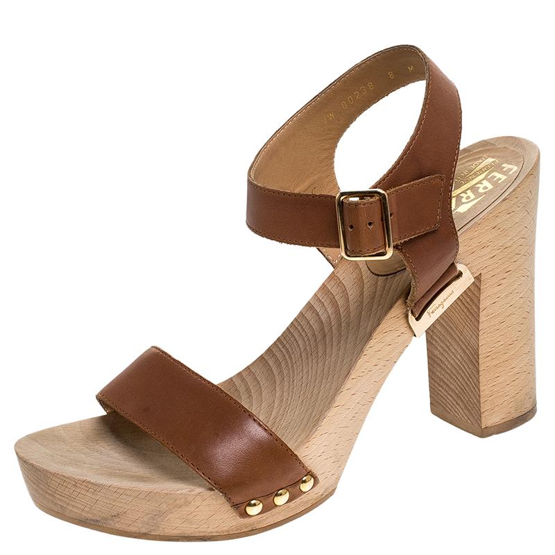 Salvatore Ferragamo Brown Leather Ganga Clog Block Heel Sandals Size 38.5