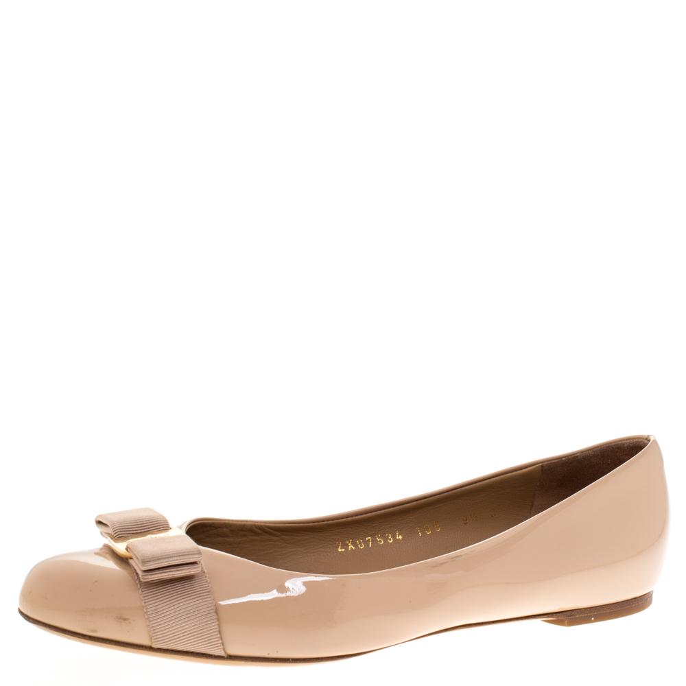 Salvatore Ferragamo Beige Patent Leather Varina Ballet Flats Size 40