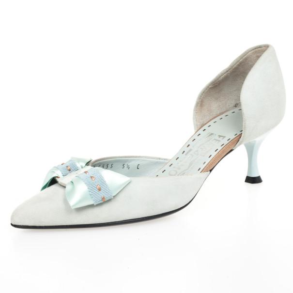Salvatore Ferregamo Blue Suede Bow Pointed Toe Dórsay Kitten Heels Size 36