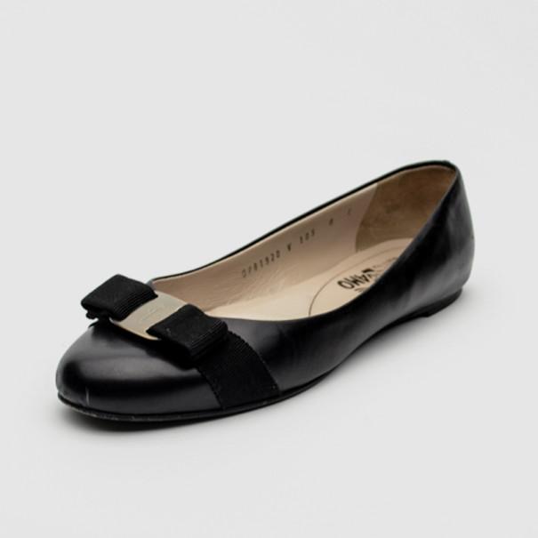 0ea9b5b1d5b53 ... Salvatore Ferragamo Black Leather Varina Ballet Flats Size 38.5.  nextprev. prevnext
