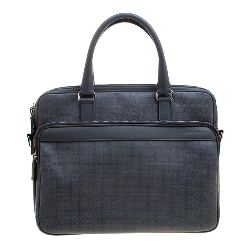 70c3dc81b882 ... Salvatore Ferragamo Grey Embossed Leather Laptop Bag. nextprev. prevnext