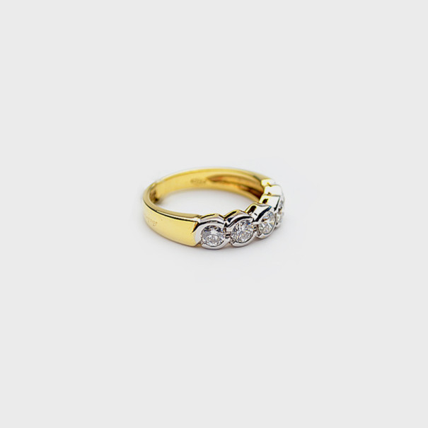 Salvini 18 K White & Yellow Gold Diamond Ring Size 56