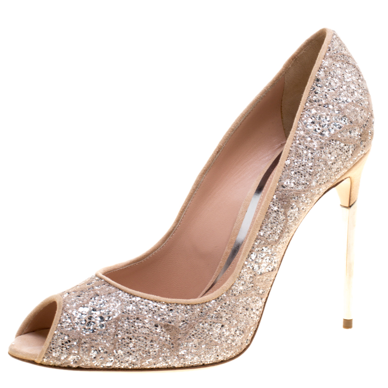 52bb335bc54 Buy Sebastian Beige Lace and Silver Glitter Peep Toe Pumps Size 40 ...
