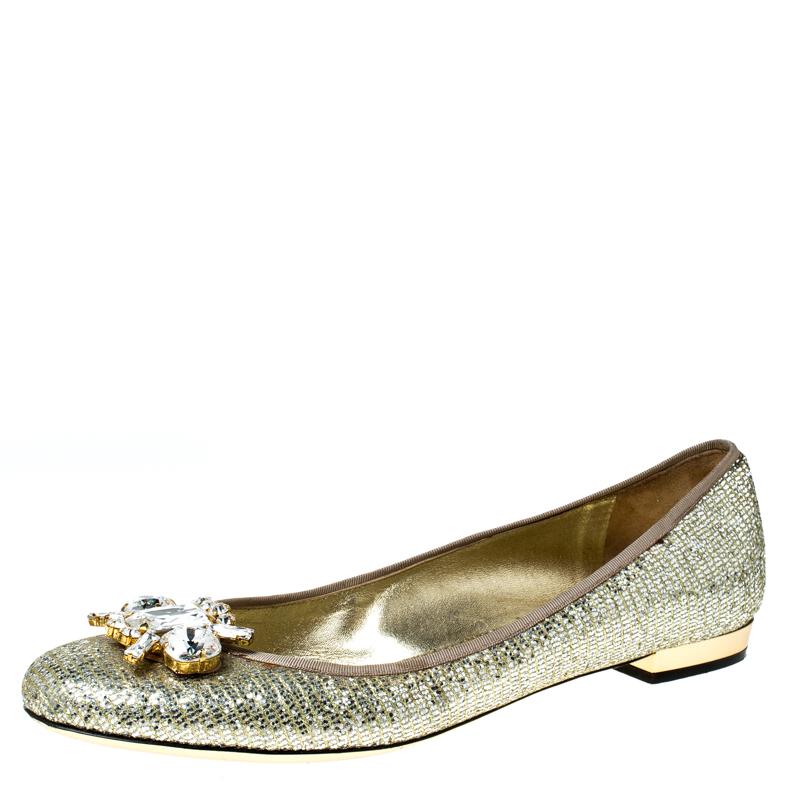 Sebastian Metallic Gold Glitter Crystal Embellished Ballet Flats Size 40  Sebastian   TLC