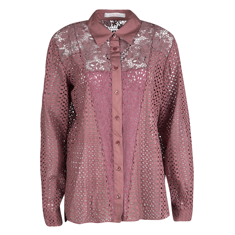 51debcf2 ... See by Chloe Dusty Rose Floral and Eyelet Lace Long Sleeve Shirt L.  nextprev. prevnext