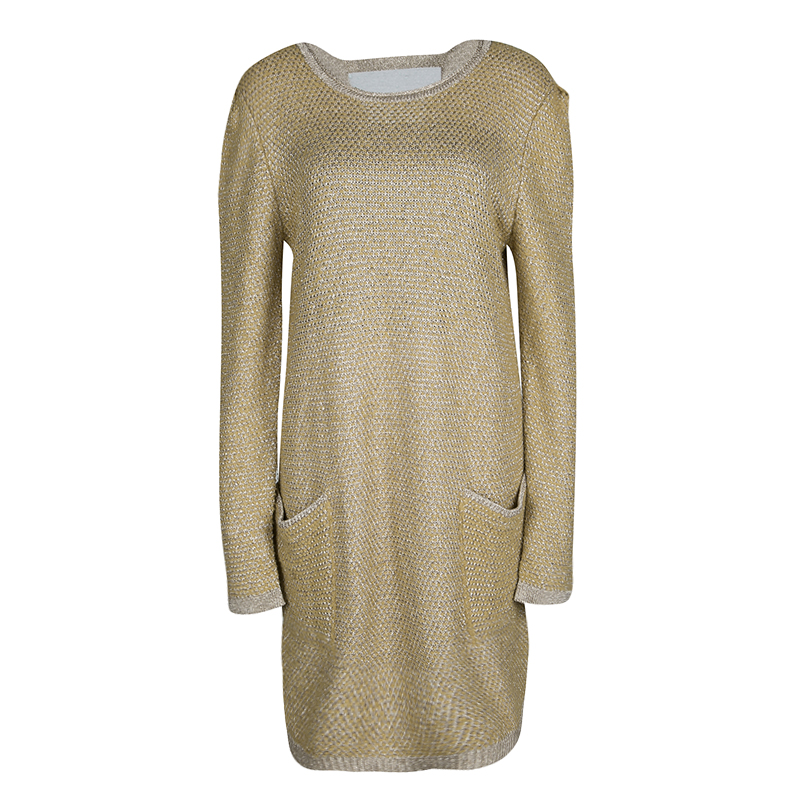 575c57b1 See By Chloe Mustard Yellow and Gold Long Sleeve Chunky Sweater Dress XL