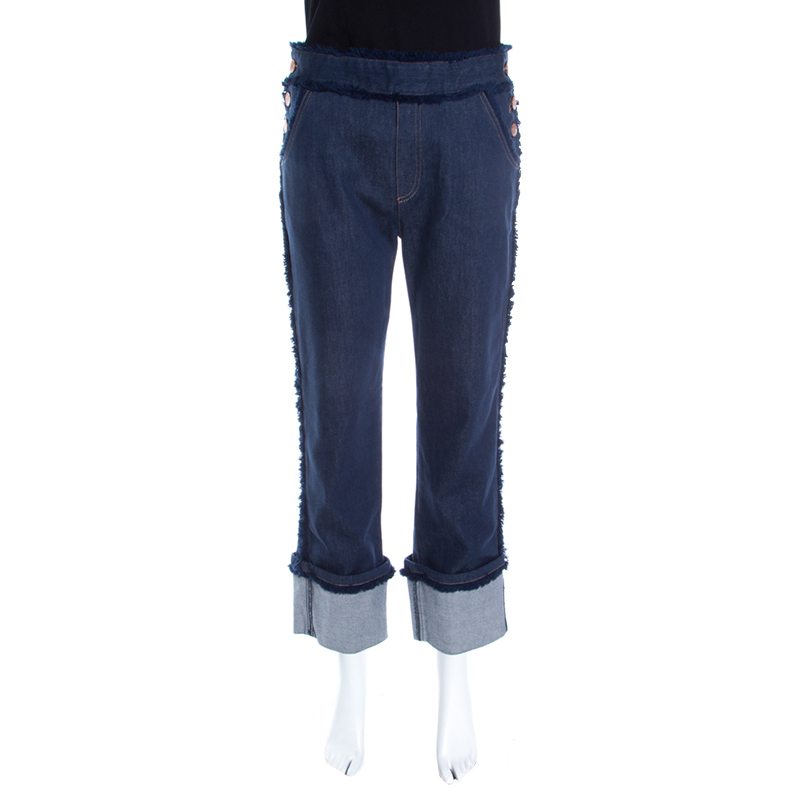 Купить со скидкой See by Chloe Indigo Dark Wash Denim Frayed Trim Detail Cuffed Jeans M