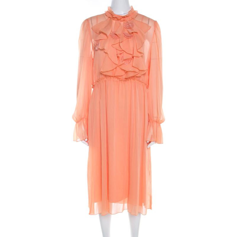 f9b2b6d7 See by Chloe Evening Orange Crepe Georgette Floral Appliqué Ruffled Midi  Dress M