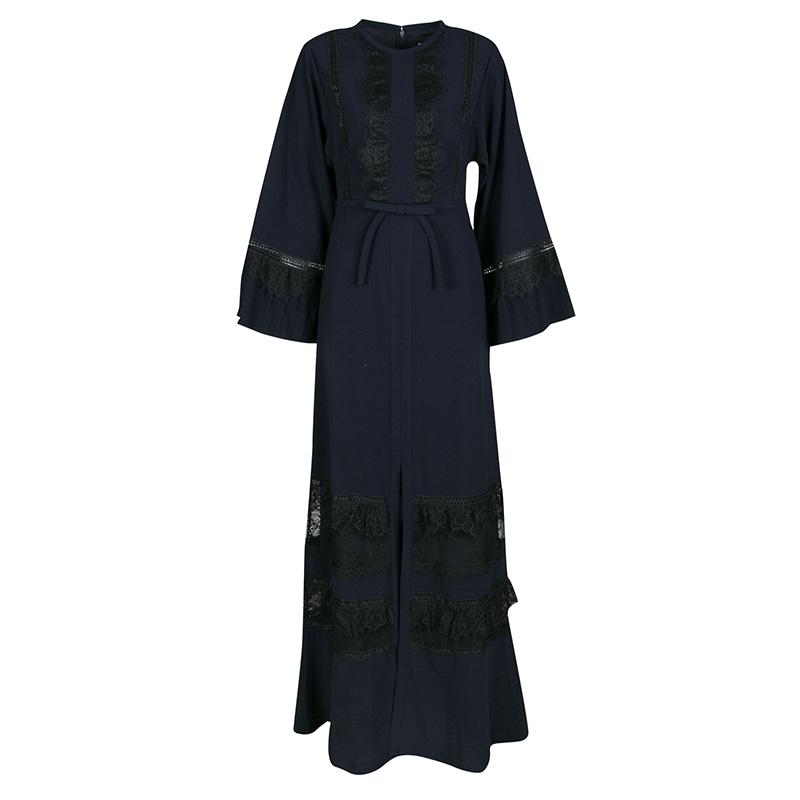 فستان قفطان ماكسي سيلف بورتريه أوليفيا دانتيل أزرق كحلي S