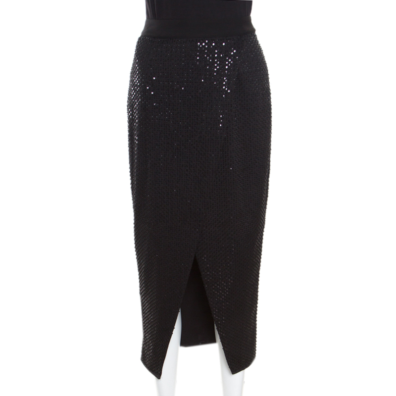 16510828707835 Buy Self Portrait Black Sequined Wrap Front Midi Skirt S 164615 at ...