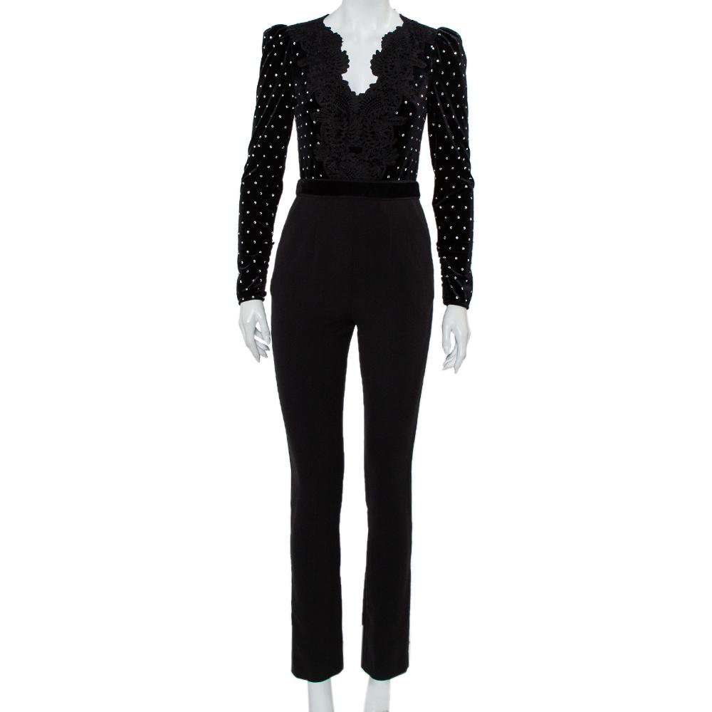 Pre-owned Self-portrait Black Velvet & Crepe Stone Embellished Paneled Jumpsuit S