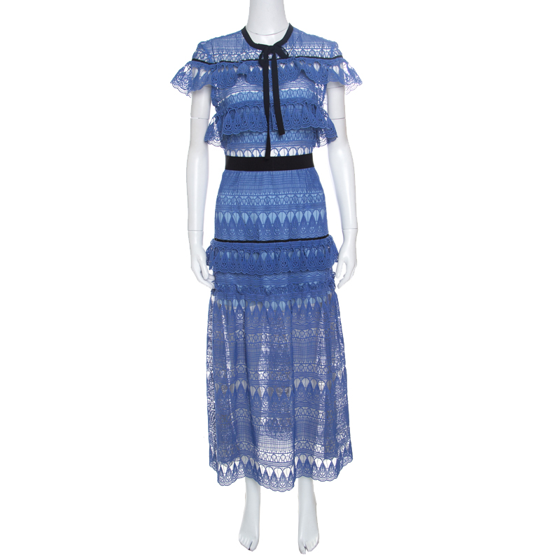 d8c9db499bf6 ... Self Portrait Blue Teardrop Guipure Lace Ruffled Daphne Midi Dress M.  nextprev. prevnext