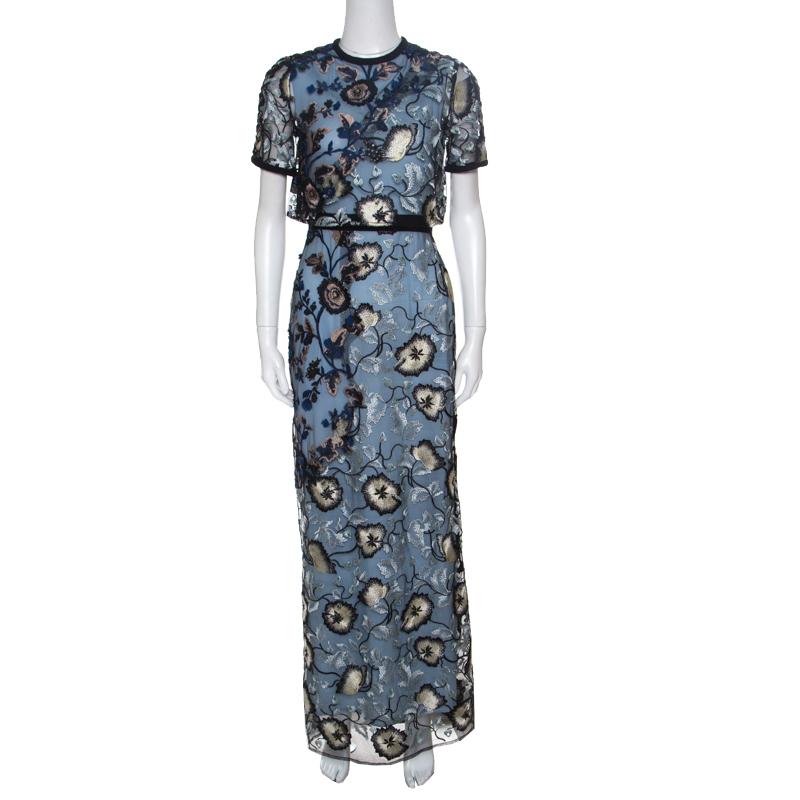 4d9b8ca47158 ... Self Portrait Blue Floral Embroidered Layered Florentine Maxi Dress S.  nextprev. prevnext