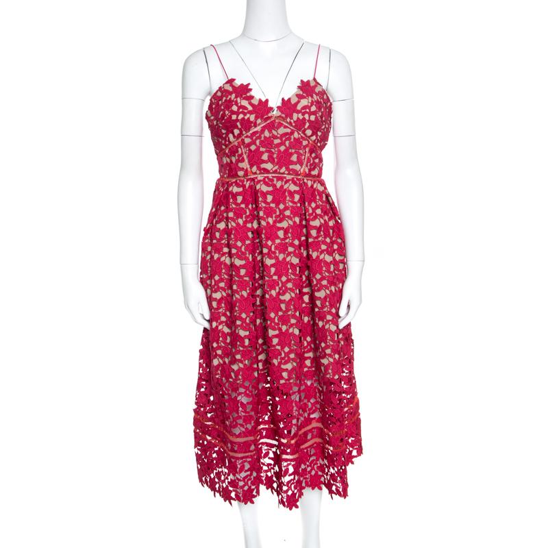 ea72940b78f ... Self Portrait Red Floral Guipure Lace Noodle Strap Azaelea Midi Dress  M. nextprev. prevnext