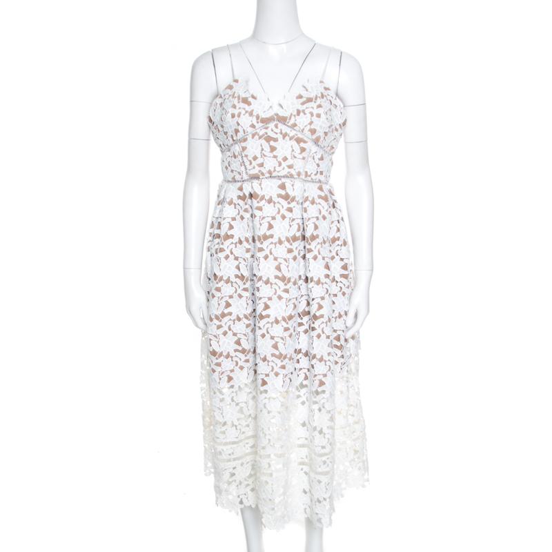 d84bc7af6a0f36 ... Self Portrait White Floral Guipure Lace Noodle Strap Azaelea Midi Dress  M. nextprev. prevnext