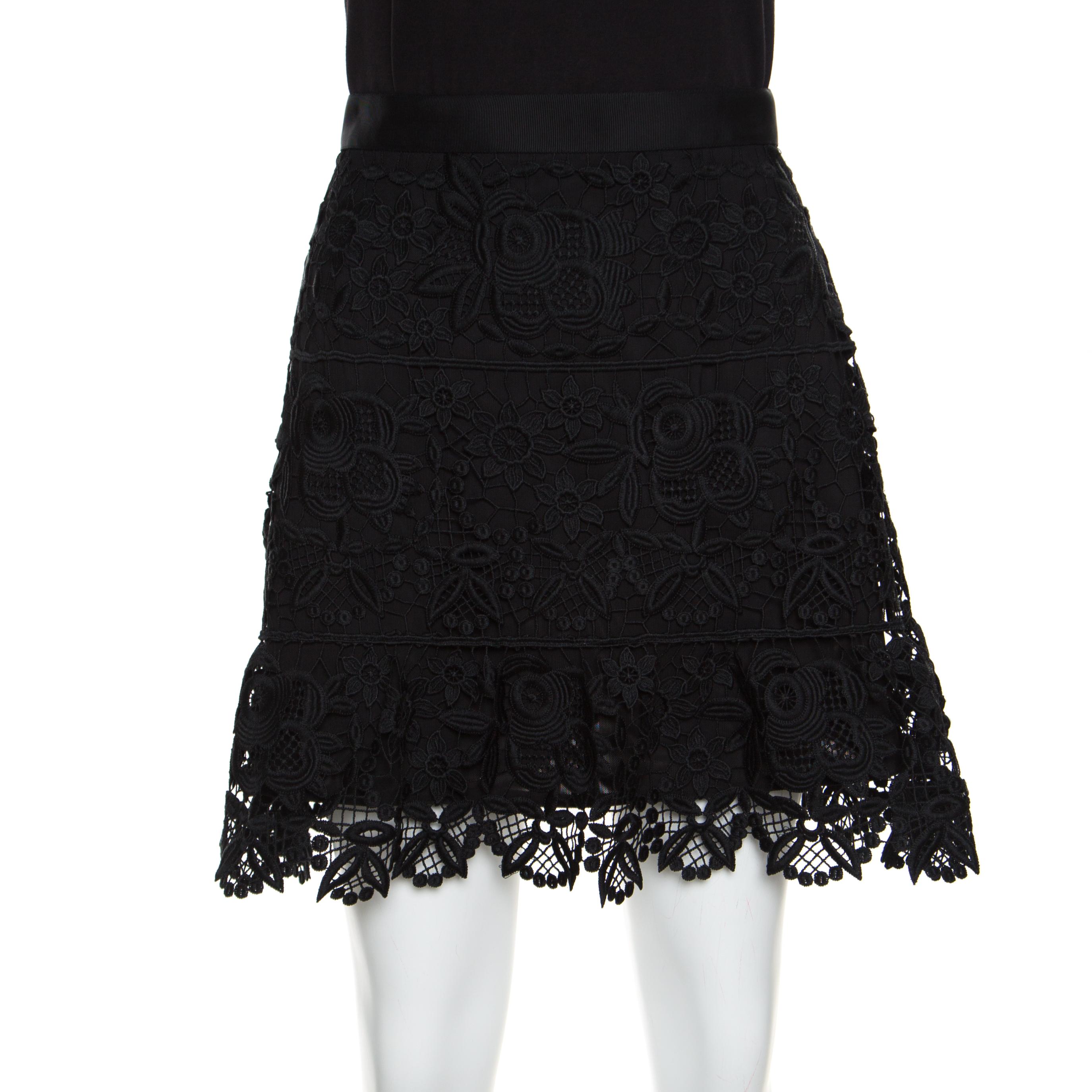 822c00c1d ... Self Portrait Black Floral Guipure Lace Peplum Mini Skirt M. nextprev.  prevnext