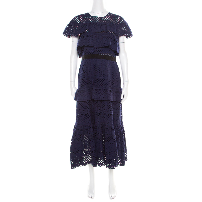 Self Portrait Navy Blue Cotton Tiered Floral Broderie Anglaise Midi Dress L