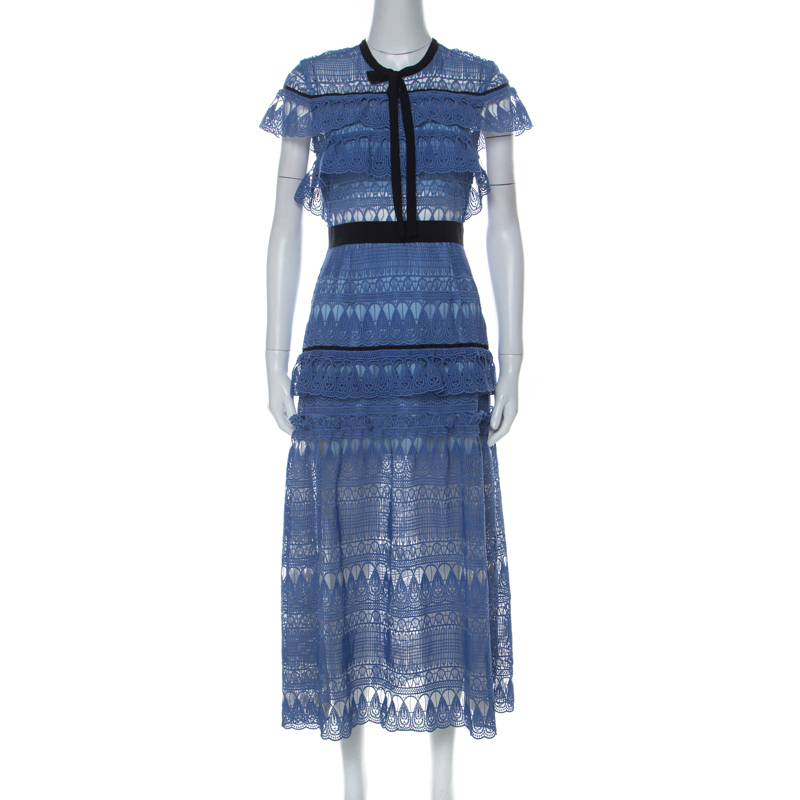Self Portrait Blue Teardrop Guipure Lace Ruffled Daphne Midi Dress M