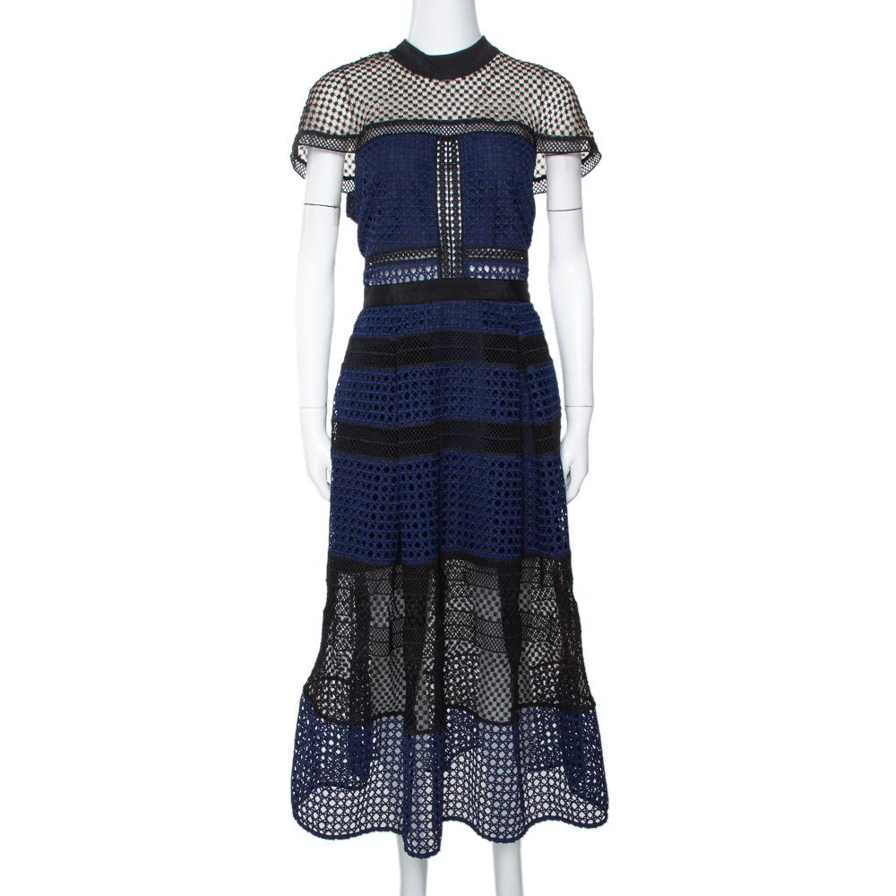 Self Portrait Navy Blue Lace Crosshatch Paneled Midi Dress L