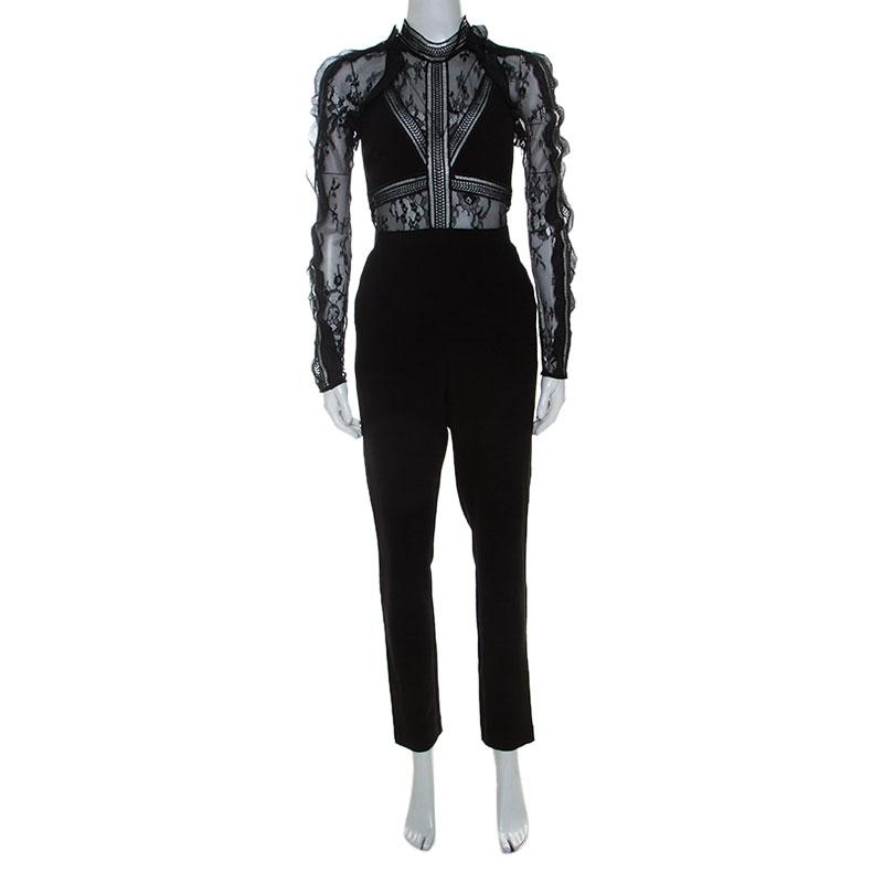 Pre-owned Self-portrait Black Lace Paneled Hall Jumpsuit M