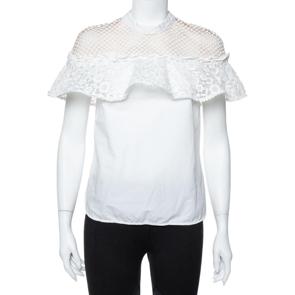 Pre-owned Self-portrait White Guipure Lace Detachable Yoke Detail Hudson Top M