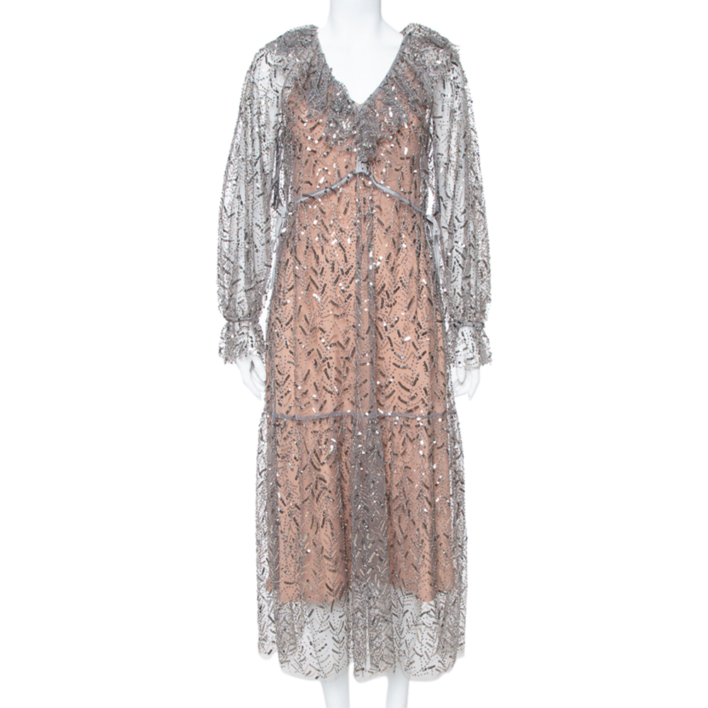 Pre-owned Self-portrait Grey Sequin Embellished Tulle Ruffle Detail Midi Dress S