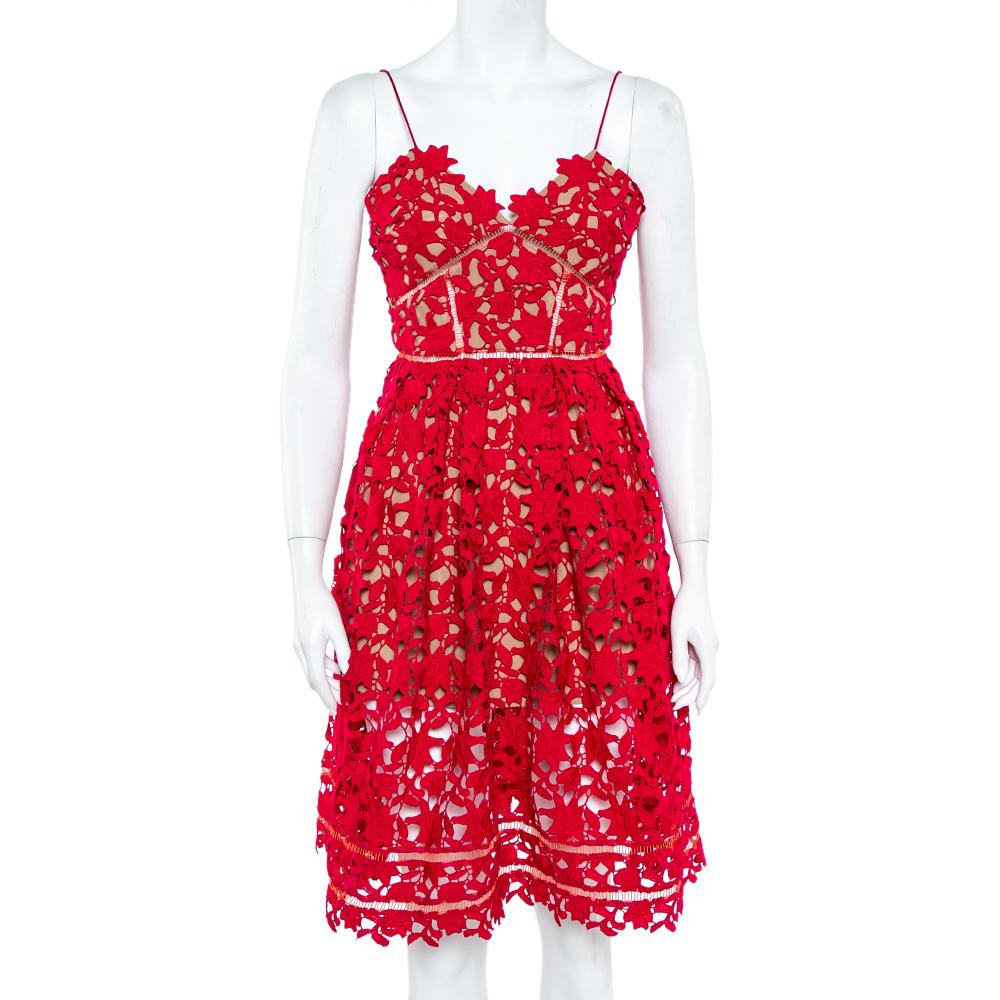 Pre-owned Self-portrait Red Floral Guipure Lace Noodle Strap Azaelea Midi Dress S
