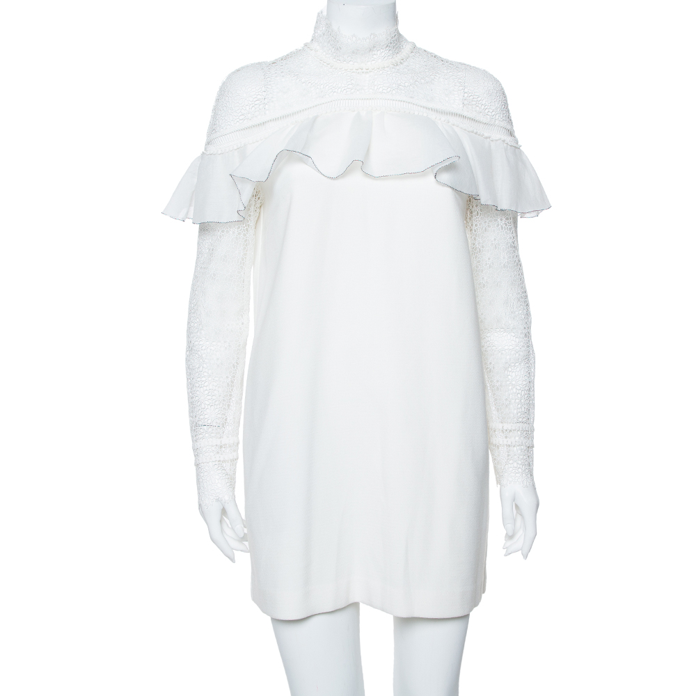 Pre-owned Self-portrait White Lace & Knit Pleated Detail Military Cape Dress M