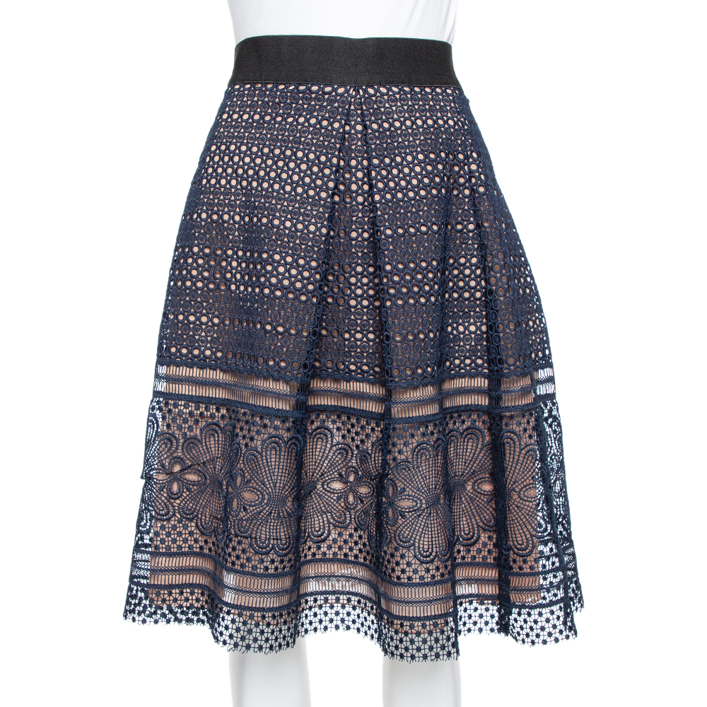 Pre-owned Self-portrait Navy Blue Guipure Lace Pleated Sofia Skirt L