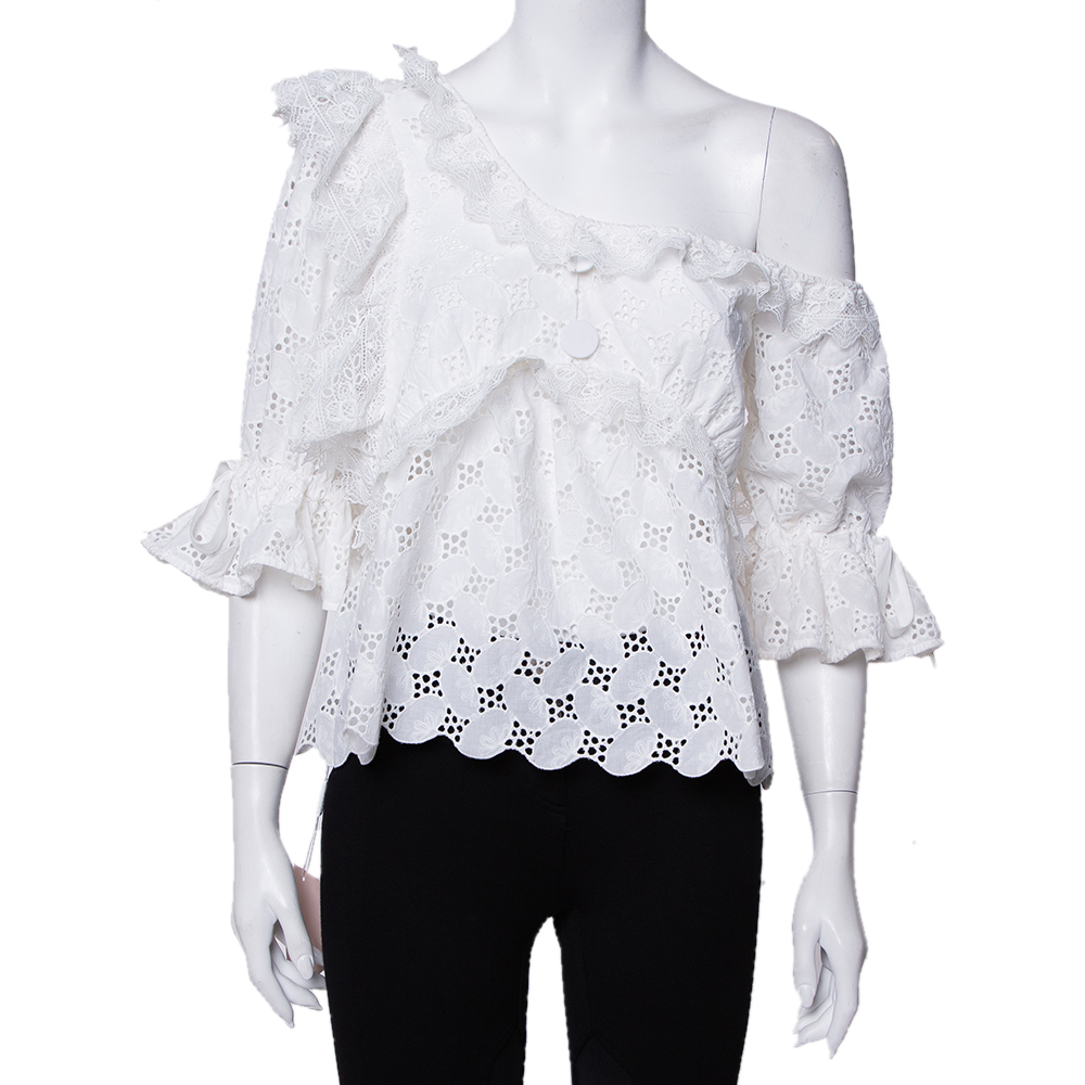 Pre-owned Self-portrait White Leaf Broderie One Shoulder Anglaise Top M
