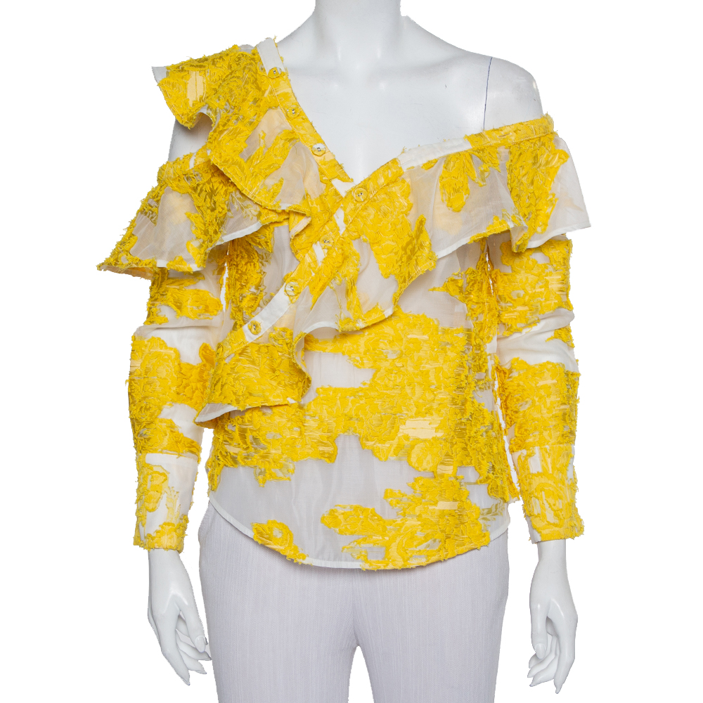 Pre-owned Self-portrait White & Yellow Fil Coupe Ruffled Off Shoulder Detail Top S