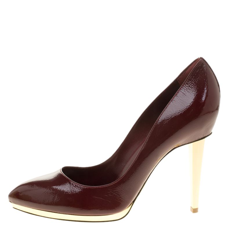 Sergio Rossi Burgundy Patent Leather Pointed Toe Pumps Size