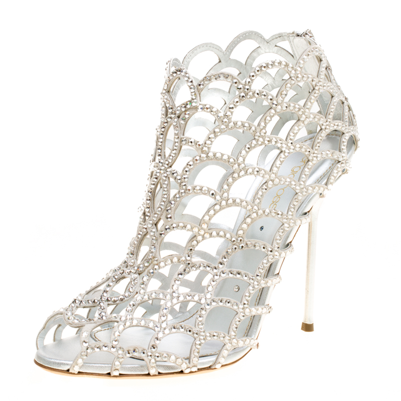 Купить со скидкой Sergio Rossi Silver Crystal Embellished Scalloped Suede Peep Toe Caged Booties Size 40