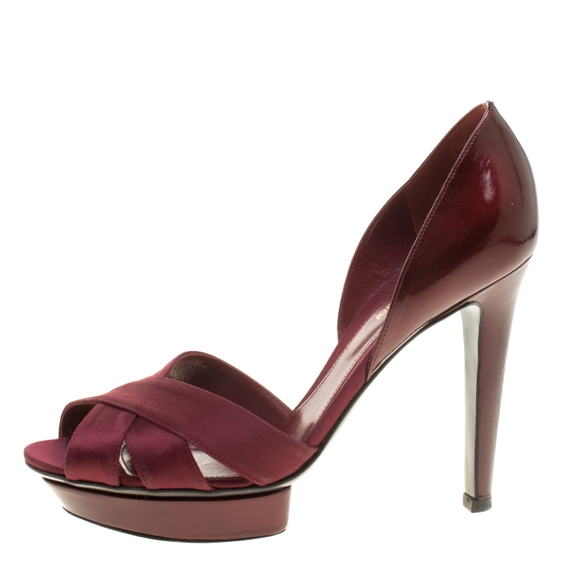 Sergio Rossi Burgundy Patent Leather and Satin D'orsay Pumps Size