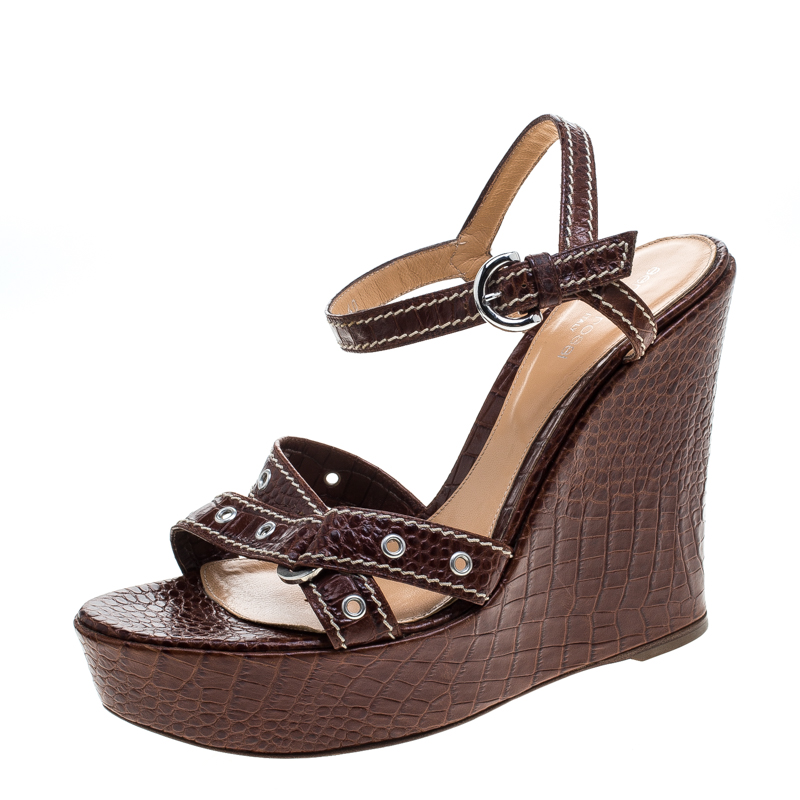 01f018d7381f Buy Sergio Rossi Brown Croc Embossed Leather Wedge Ankle Strap ...
