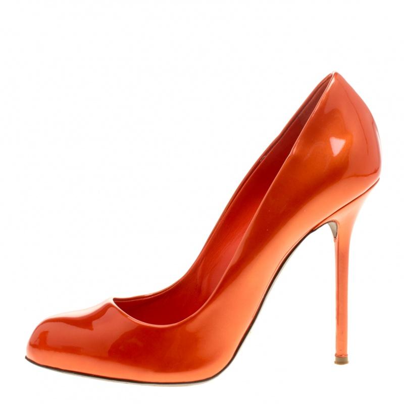 Sergio Rossi Orange Patent Leather Flamenco Pumps Size