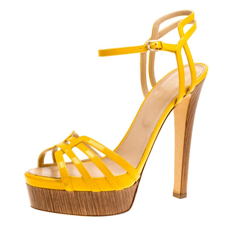 e4bac97d9d0 ... Sergio Rossi Yellow Patent Leather Paloma Ankle Strap Platform Sandals  Size 39. nextprev. prevnext