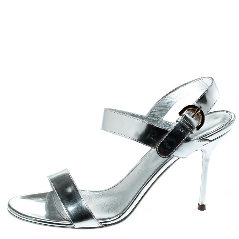 Sergio Rossi Metallic Silver Bride À La Cheville Open Toe Sandales Taille 37