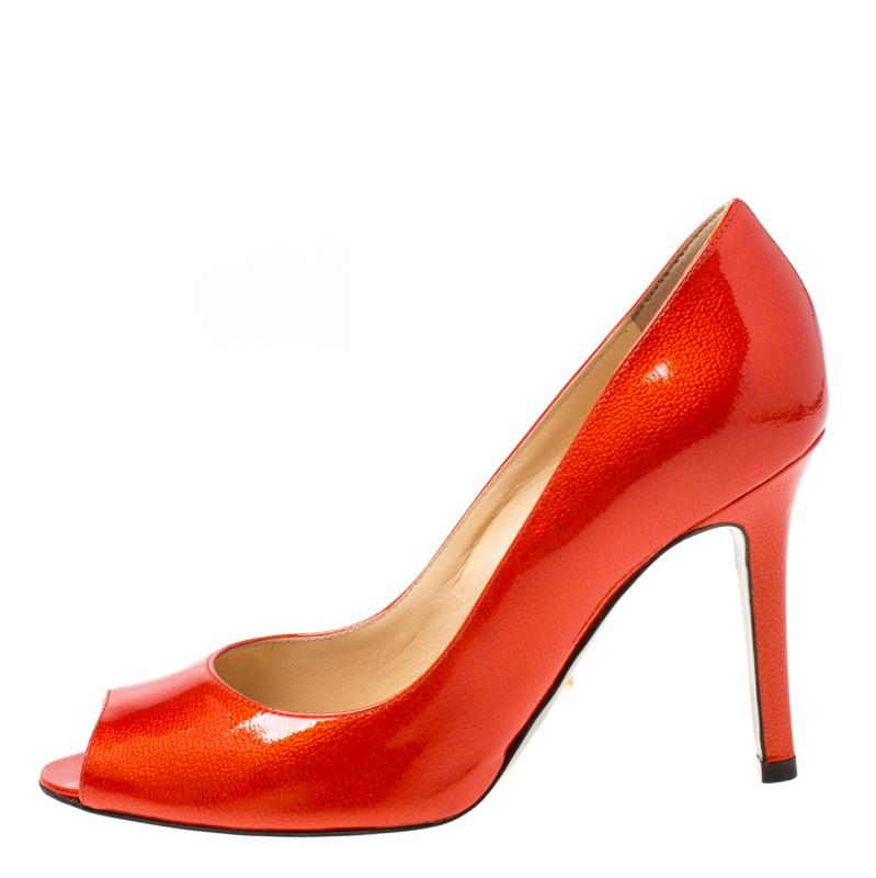 Sergio Rossi Orange Patent Leather Peep Toe Pumps Size