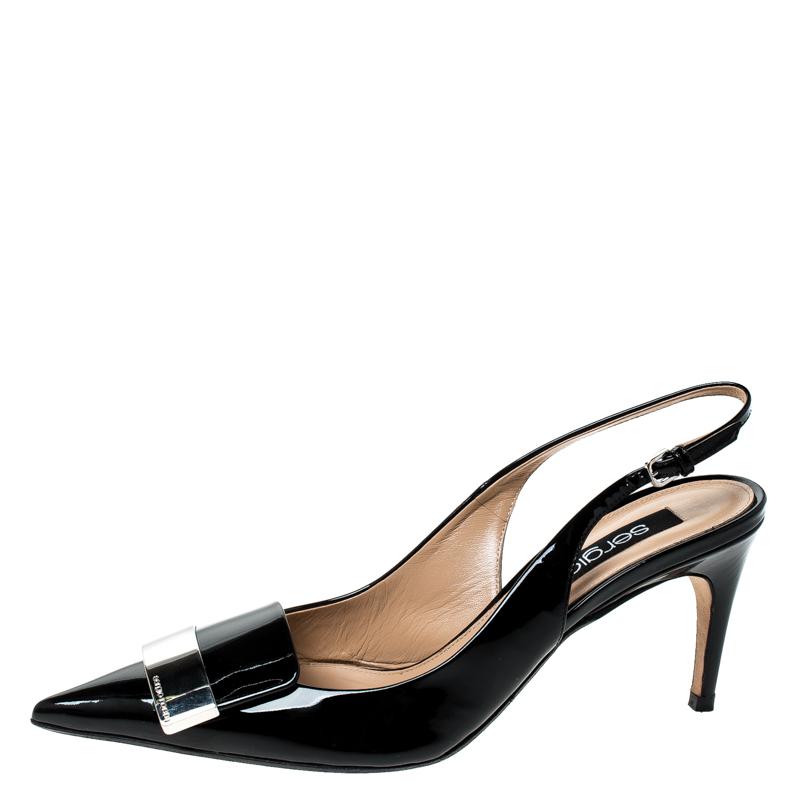 Sergio Rossi Black Patent Leather Scarpe Donna Slingback Platform Pumps Size