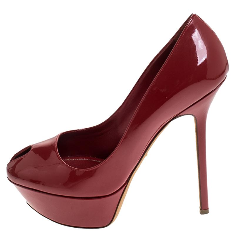 Sergio Rossi Red Patent Leather Cachet Peep Toe Platform Pumps Size